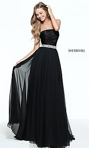 Strapless Long Prom Dress with Ruched Bodice