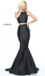 Image of black two-piece prom dress with embroidered train. Style: SH-51027 Back Image