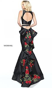 Image of black two-piece prom dress with embroidered train. Style: SH-51027 Front Image