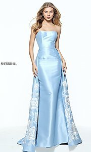 Long Strapless Light Blue Prom Dress
