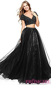 Image of short-sleeve Sherri Hill two-piece prom dress. Style: SH-51039 Detail Image 2