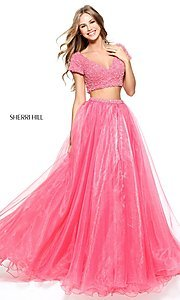 Image of short-sleeve Sherri Hill two-piece prom dress. Style: SH-51039 Detail Image 1