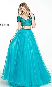 Short-Sleeve Sherri Hill Two-Piece Prom Dress