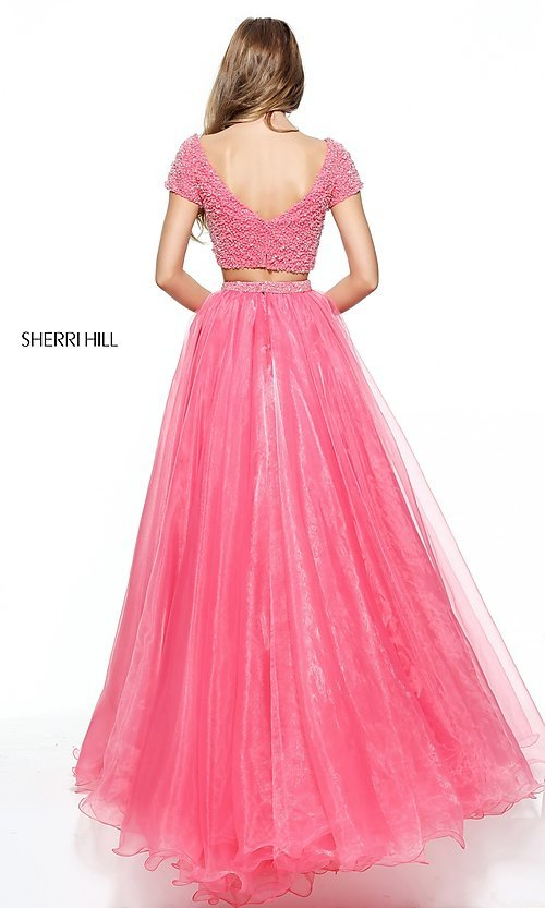 Image of short-sleeve Sherri Hill two-piece prom dress. Style: SH-51039 Back Image