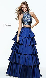 Two-Piece Prom Dress with Layered Skirt