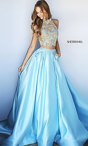 Two-Piece Sherri Hill Halter Prom Dress