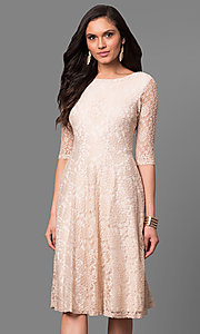 Knee-Length Short Lace Dress with Elbow-Length Sleeves
