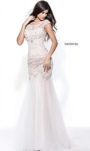 Ivory and Nude Beaded Prom Dress