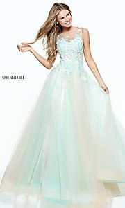 Aqua and Blush Embroidered Prom Dress