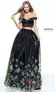 Sherri Hill Off-the-Shoulder Long Prom Dress