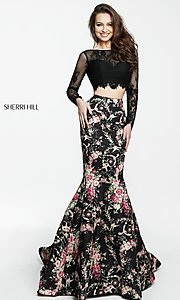 Image of print two-piece mermaid prom dress by Sherri Hill. Style: SH-51064 Detail Image 2