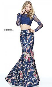 Image of print two-piece mermaid prom dress by Sherri Hill. Style: SH-51064 Front Image