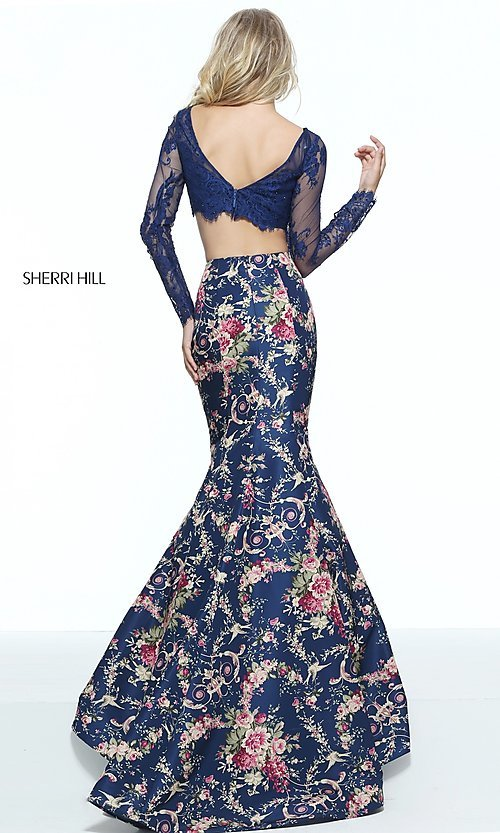 Image of print two-piece mermaid prom dress by Sherri Hill. Style: SH-51064 Back Image