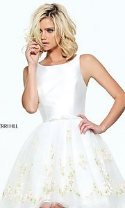 Short Prom Dress with Embroidered Skirt