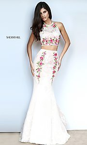 Lace Two-Piece Halter Prom Dress