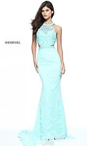 Aqua Blue Long Lace Prom Dress