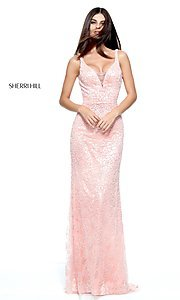 V-Neck Beaded Prom Dress by Sherri Hill