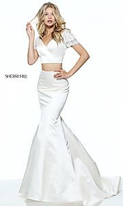Ivory Two-Piece V-Neck Prom Dress