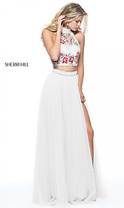 Two-Piece Sherri Hill Embroidered Prom Dress