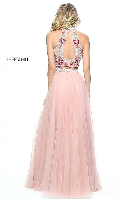 Image of two-piece Sherri Hill embroidered prom dress. Style: SH-51121 Back Image