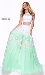 Two-Piece Embroidered Prom Dress