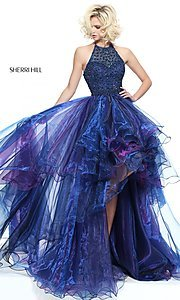 Halter High-Low Sherri Hill Prom Dress