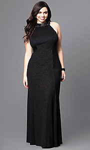 Long Plus Size Prom Dress with Jeweled Collar