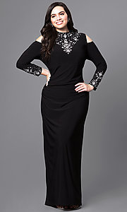 Image of long cold-shoulder plus-size prom dress with sleeves. Style: JU-MA-293258 Front Image