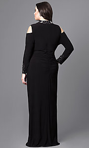 Image of long cold-shoulder plus-size prom dress with sleeves. Style: JU-MA-293258 Back Image