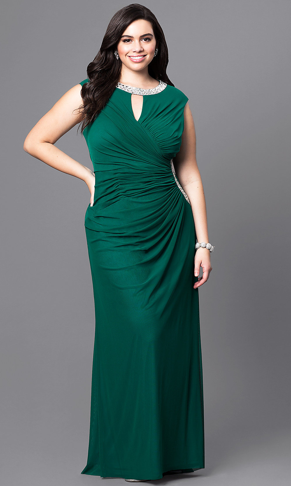 Long Plus-Size Prom Gown with Jeweled Collar