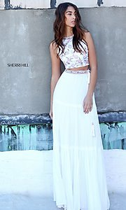 White and Coral Two-Piece Prom Dress