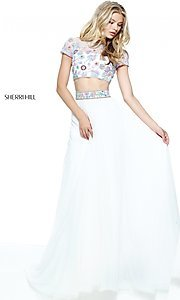 Ivory and Multi Print Two-Piece Prom Dress
