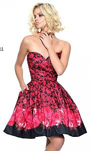 Black and Red Strapless Print Prom Dress