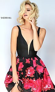 Short Black and Red Print Prom Dress