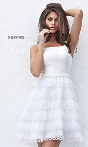 Sleeveless Short Tiered Pleated Sherri Hill Dress