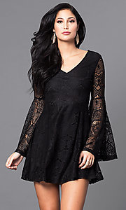Image of short lace v-neck party dress with long bell sleeves. Style: VJ-LD41143 Detail Image 2
