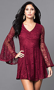 Image of short lace v-neck party dress with long bell sleeves. Style: VJ-LD41143 Front Image