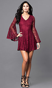 Image of short lace v-neck party dress with long bell sleeves. Style: VJ-LD41143 Detail Image 1