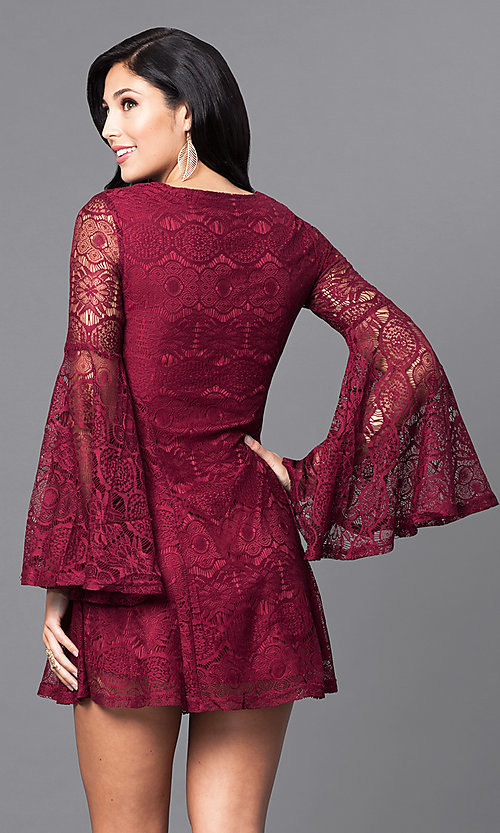 Image of short lace v-neck party dress with long bell sleeves. Style: VJ-LD41143 Back Image