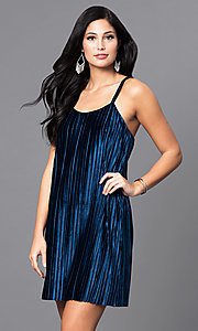 Pleated Velvet Short Party Dress