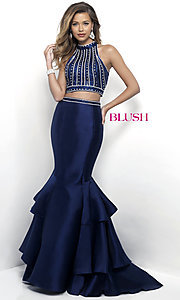 Two Piece Open Back Mermaid Style Prom Dress