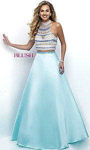 High Neck Two Piece Open Back Prom Dress