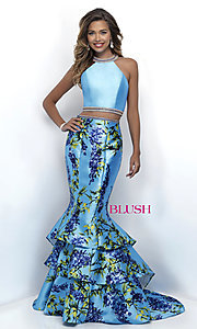 Floral Print Two-Piece Prom Dress by Blush