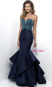 Strapless Blush Floor Length Prom Dress