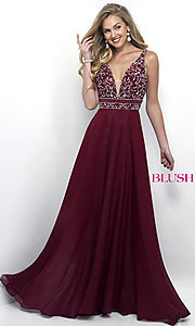 V-Neck Prom Dress with Beaded Top by Blush