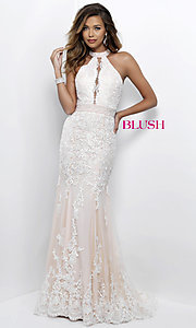Ivory and Champagne Lace Prom Dress