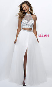 High-Neck Two-Piece Blush Prom Dress