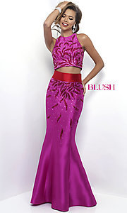 High-Neck Two-Piece Prom Dress by Blush
