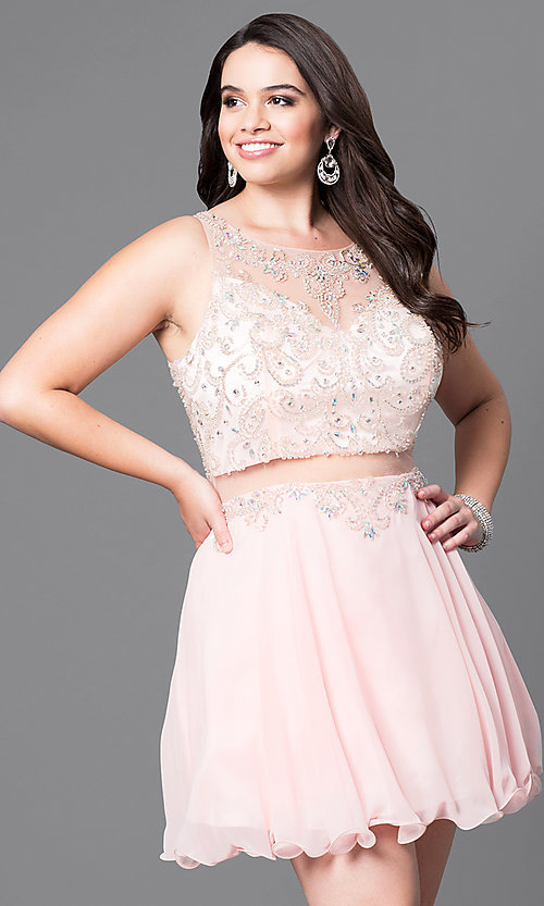 Image of mock two-piece plus-size short party dress.  Style: DQ-9550P Front Image