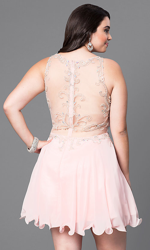 Image of mock two-piece plus-size short party dress.  Style: DQ-9550P Back Image